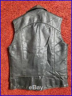 Rare Vintage British Leather Motorcycle Vest Punk Metal Goth UK Jacket Sm 32