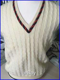 Rare Vintage Gucci Mens Wool Green Red Stripe Beige Wool Sweater Vest Size 48