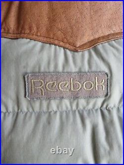 Rare Vintage Reebok Leather Yoke Feather Down Jacket Ski Vest Puffer M 80's 90's