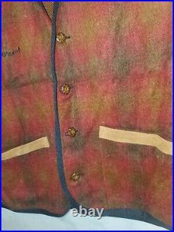 Rare Vtg 90's Pervert Clothing Streetwear Plaid Red Button Up Vest Sz L