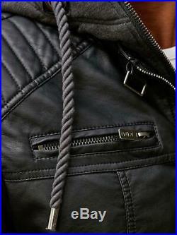 Redbridge Herren Jacke Kunst- Lederjacke Bikerjacke Übergangsjacke Kapuze M6013H