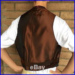 Reproduction 1910s Men's Matching Suit Coat & Vest Set Red Green Plaid Christmas