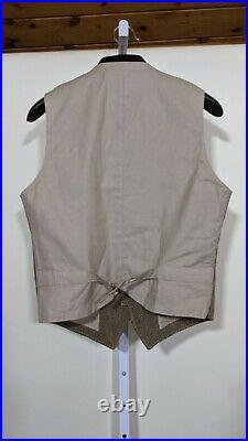 Rugby Ralph Lauren Haberdashery Shop Herringbrown Brown Wool Vest Size 40 RRL