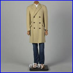 S 1960s Mens Coat Double Breasted 4 Over 8 Tan Beige Wool Tweed Overcoat 60s VTG