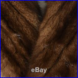S 1970s Mens Coat Tan Wool Mink Fur Lined Double Breasted Heavy Overcoat 70s VTG