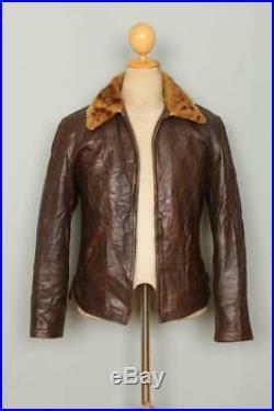 STUNNING Vtg 1940s HORSEHIDE Half Belt Leather Motorcycle Sports Jacket Small