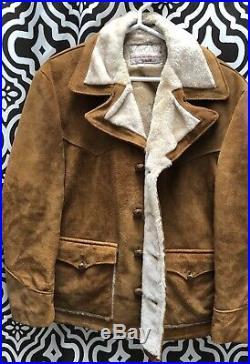 Schott Rancher Vintage Suede Leather Sherpa Lined Jacket Coat Western Cowboy 44