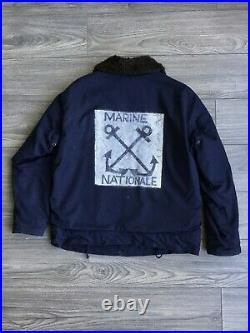 Stencil Deck Jacket Vtg French Marine Nationale Deck Jacket Veste Ancienne L XL