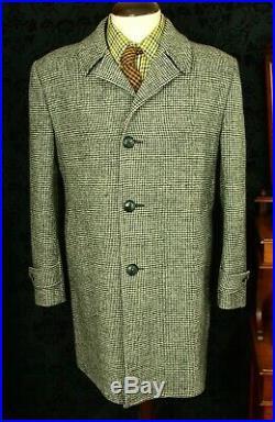 Superb Mens Vintage Harris Tweed Coat Overcoat 80's Size 44 Large 46 XL