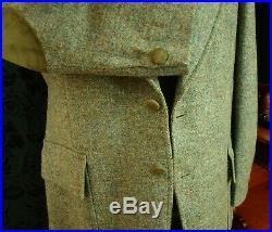 Superb Mens Vintage Harris Tweed Suede Norfolk Shooting Jacket Blazer 40 slim 42