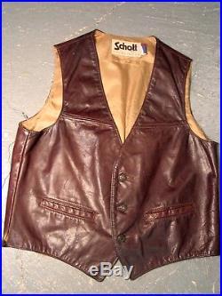 Superb Vintage SCHOTT Leather Vest Jacket Lot of 4 Various Sizes