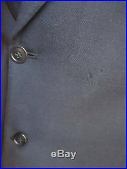True Vtg 30s 1932 NAVY BLUE WOOL GABARDINE SUIT 40 JACKET VEST TROUSERS 33x32