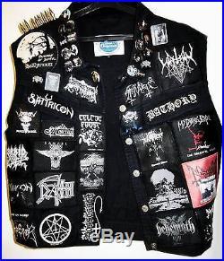 Unique Old School Vintage Denim Black/Death Metal Battle Jacket Vest Pins Spikes