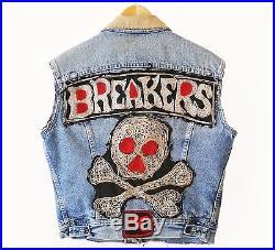 Vintage Lee Breakers MC Motorcycle Vest Denim Jacket Authentic Club Cut
