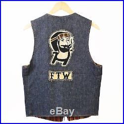 Vintage Levi's Denim Vest Reversible Zig Zag Man 13 MC Motorcycle Cut Patch