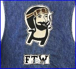 Vintage Levi's Denim Vest Reversible Zig Zag Man 13 MC Motorcycle Cut Patch Ftw