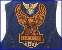 VINTAGE LEVI'S FLAT HEAD MOTORCYCLE VEST DENIM JACKET CUT with EAGLE PATCH M