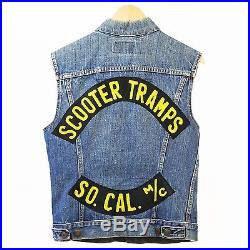 Vintage Levi's MC Motorcycle Vest Denim Jacket Cut Scooter Tramps M