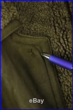 VINTAGE Mens YVES SAINT LAURENT Sheepskin LEATHER Jacket Coat XL Brown DN2RL