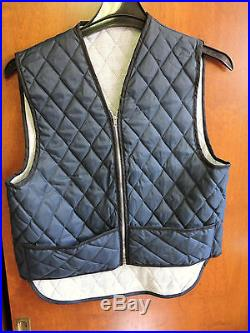VINTAGE NEW NOS MENS QUILTED BLUE ZIP JACKET VEST DUPONT HOLLOFIL SIZE SMALL