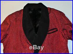 VINTAGE WINE RED RAYON & ACETATE SMOKING JACKET WithBELT! BLACK TRIM & LINING! L