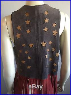 VTG 1970s Unisex FRINGE Vest PATRIOTIC NYC LEATHER Biker Hippie Rocker JACKET L