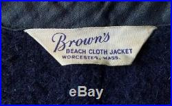 VTG 40's BROWNS BEACH CLOTH VEST SALT PEPPER WOOL SNAP WORCESTER MASS WORKWEAR S