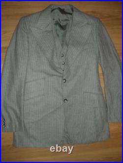 VTG 40s style 60S MENS 40 GRAY PINSTRIPE WOOL 3 PIECE SUIT JACKET VEST PANTS