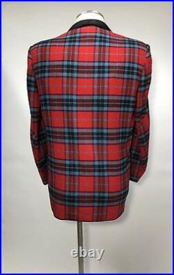 VTG 50s Red Tartan Plaid Custom Tailored Bespoke Dinner Suit Jacket Vest Tux 44