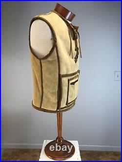 VTG 60s Leather Jacket Bespoke Shearling Pockets Lace Up Zipper Snap Vest Unisex