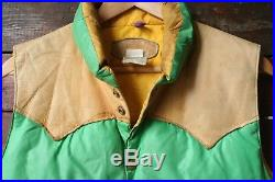 VTG 70s ROCKY MOUNTAIN FEATHERBED LEATHER YOKE GOOSE DOWN PUFFER VEST JACKET 42