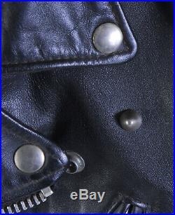 VTG 70s Schott PERFECTO 613 OneStar Steerhide Black Leather Motorcycle Jacket 38