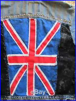 VTG 80's DENIm vest JACKET ENGLISH UNION JACK FLAG STUD spike 48 punk peggyo