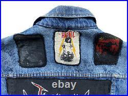 VTG 80s Kutte Battle Denim Jacket Venom Motorhead Metallica Kreator AC/DC Patch