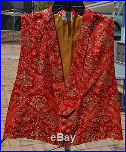 VTG BIG E LEVI'S 48 Chest XL Short Horn Poker Dealer Gambler Western Vest Red