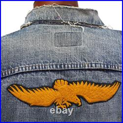 VTG Big E Levi's Biker Vest 1960's Trucker Jacket Patches Destroyed Harley