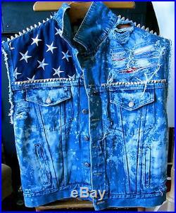 VTG CUT OFF ACID DENIM TRUCKER jacket VEST AMERICAN FLAG STUD SPIKE moto grunge