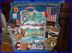 VTG FRAY faded CUT OFF DENIM TRUCKER JACKET VEST AMERICAN FLAG STUD MOTO patch