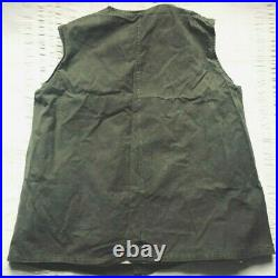 VTG FRENCH WORK Vest Waistcoat Lined Sheepskin CHORE WORKER Hunting Jacket Army