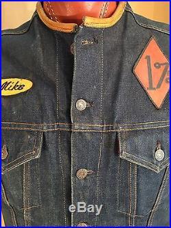 VTG LEVIS Big E Type II 557 Denim Jeans Vest MC Gang Members Vest 60's XL RARE