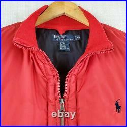 VTG POLO RALPH LAUREN Size XL Mens Cardinal Red Down Puffy Vest Full Zip 1990s