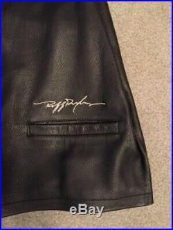 VTG Ruff Ryders DMX Vest Leather Mens Sz L Black Embroidered Motorcycle Club