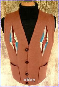 VTG Sz 46 ORTEGA'S CHIMAYO NATIVE AMERICAN Indian BLANKET HANDWOVEN Wool VEST