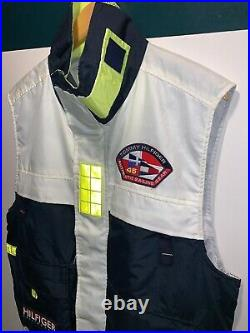 VTG TOMMY HILFIGER Sailing Gear nylon neon utility fishing vest jacket Sz M 90s