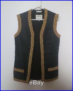 Valentino Men's Black Linen Weave Evening Vest- 1968