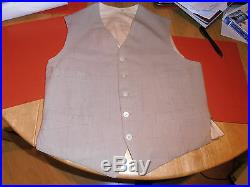 Victorian Tailored Linen Formal Waistcoat With Mother of Pearl Button Size 36