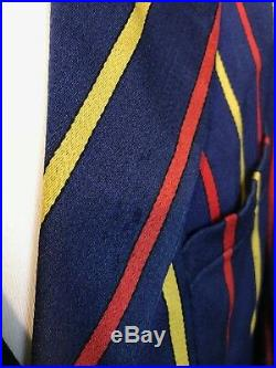 Vintage 1930's bespoke boating striped club college blazer size 38 40