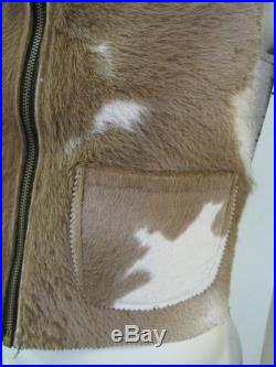 Vintage 1930s/1940s Cow Hair Grizzly Type Leather Vest Size SMALL