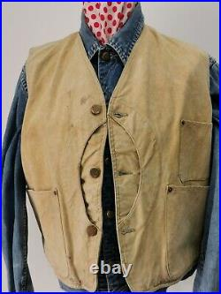 Vintage 1930s American Cotton Duck Half Moon Hunting Waistcoat Size Large