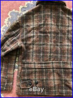 Vintage 1930s Plaid Wool Sport Jacket Button Tab Back Inner Vest Art Deco Pocket